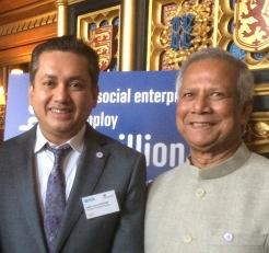 Eddie Razak with Prof Muhammad Yunus at Parliament UK - Nov 2014